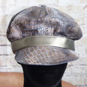 TALULAH NY Faux Leather Animal Print Cabbie Hat